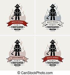 ロゴ, 消防士, design.