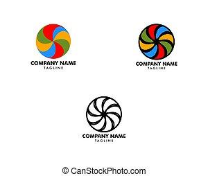 ロゴ, 渦, アイコン, ベクトル, イラスト, デザイン, セット, テンプレート