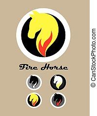 ロゴ, 火, 馬