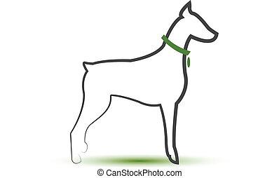 ロゴ, 犬, 定型, シルエット