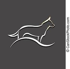 ロゴ, 白い犬, イメージ, スタイルを作られる