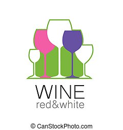 ロゴ, 白い赤, テンプレート, ワイン