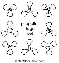 ロゴ, 白, セット, 背景