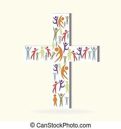 ロゴ, 白, 押し込められた, 交差点, 人々