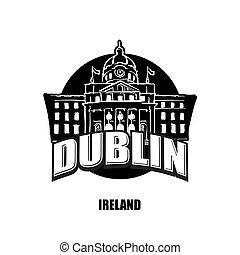 ロゴ, 白, 黒, ダブリン, アイルランド