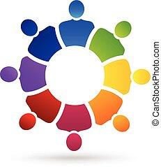 ロゴ, 社会, チームワーク, 人々, 媒体
