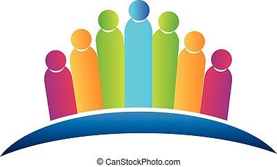 ロゴ, 社会, チームワーク, 人々