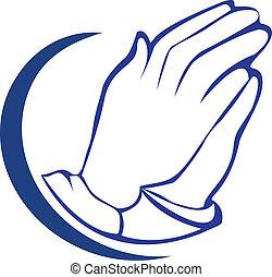 ロゴ, 祈ること, シルエット, 手