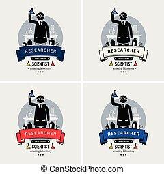 ロゴ, 科学者, 実験室, design.
