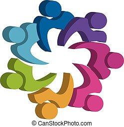 ロゴ, 統一, チームワーク, 人々