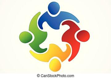 ロゴ, 統一, チームワーク, 共同経営者