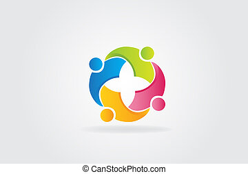 ロゴ, 統一, チームワーク, 抱きしめられた, 人々