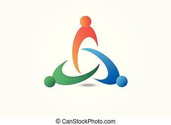 ロゴ, 統一, ベクトル, チームワーク, 人々