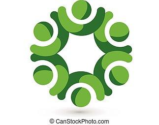 ロゴ, 統一, 人々, 緑, チームワーク