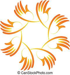 ロゴ, 統一, 概念, チームワーク, 手