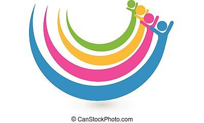 ロゴ, 統一, 概念, 友人, 幸せ