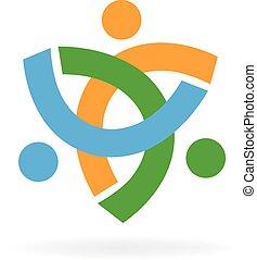 ロゴ, 統一, 裁判, チームワーク, 人々