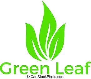 ロゴ, 緑の葉, design.