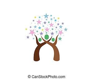 ロゴ, 緑, テンプレート, 木, 人々