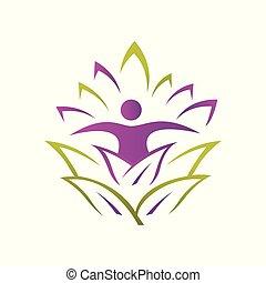 ロゴ, 練習, ベクトル, 人々, アイコン, 抽象的, pilates, ヨガ, 要素, シンボル, デザイン