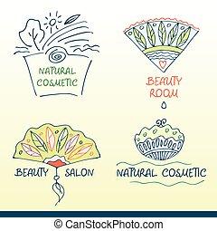 ロゴ, 美しさ, セット, ベクトル, salon.