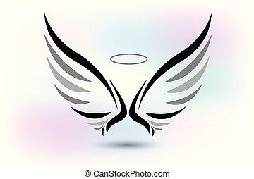 ロゴ, 翼, 天使, アイコン