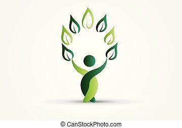 ロゴ, 自然, 健康, 木, 人々