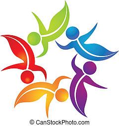 ロゴ, 色, チームワーク, 鮮やか, leafs