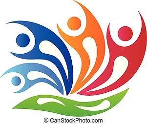 ロゴ, 花, チームワーク, 幸せ, 人々