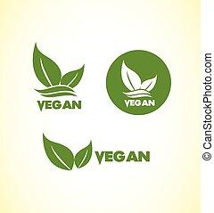 ロゴ, 菜食主義者, セット, vegan, アイコン