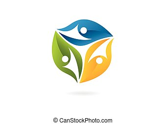 ロゴ, 葉, チームワーク, 創造的