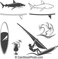 ロゴ, 要素, ラベル, サーフィン, 紋章, ベクトル