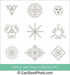 ロゴ, 要素, 花, collection., ライン。, 薄くなりなさい, 渦巻, design.