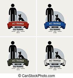 ロゴ, 訓練, 犬, design.
