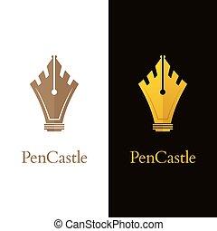 ロゴ, 贅沢, 城, アイコン, ペン