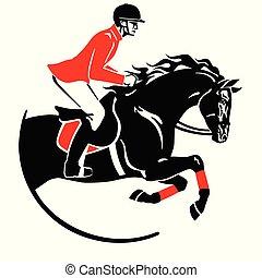 ロゴ, 跳躍, 黒, 乗馬者, 赤