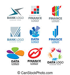 ロゴ, 金融, 会社, コレクション, ベクトル, 銀行