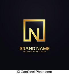 ロゴ, 金, デザイン, 手紙n