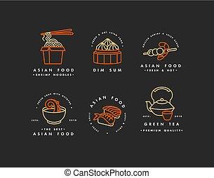 ロゴ, 金, -, 紋章, スープ, デザイン, sushi., セット, badges., アジア人, 合計, ベクトル, ∥あるいは∥, ロゴ, red., ヌードル, 食物, テンプレート, 薄暗い, 線である