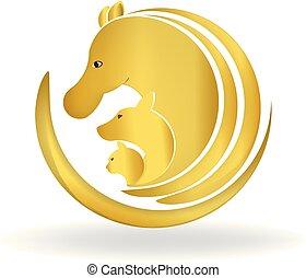ロゴ, 金, 馬, 犬, ねこ
