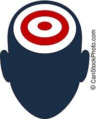 ロゴ, 顔, デザイン, ターゲット, アイコン