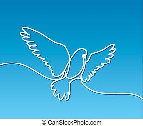 ロゴ, 飛行, ハト