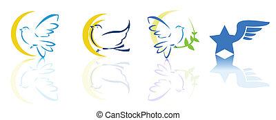 ロゴ, 飛行, 鳩