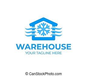 ロゴ, 食物, 貯蔵, design., 倉庫, 倉庫, 部屋, デザイン, 自動化された, 氷結, 冷やされている, 寒い, イラスト, ベクトル