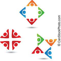 ロゴ, 3, セット, チームワーク, 人々