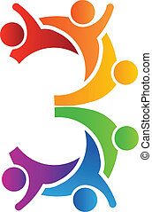 ロゴ, 3, チームワーク, 数