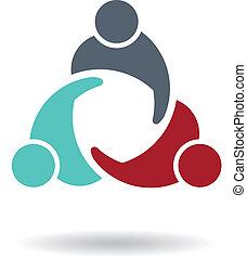 ロゴ, 3, ミーティング, ビジネス