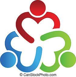 ロゴ, 3, 共有, デザイン, ビジネス