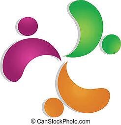 ロゴ, 3, 概念, チームワーク, 人々