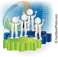 ロゴ, 3d, チームワーク, ビジネス 人々
